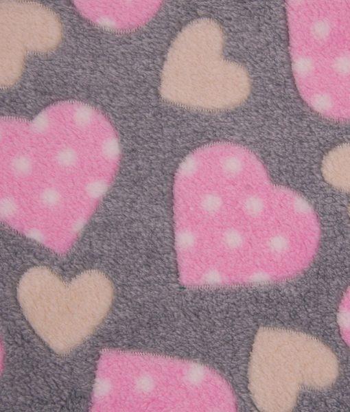 fleece hartjes rozze grijs