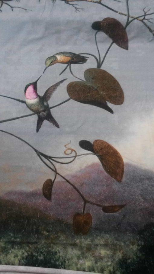 panel vogelpaar met jonkoes katoenen tricot