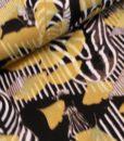 satijnkatoen zebra oker zwart wit