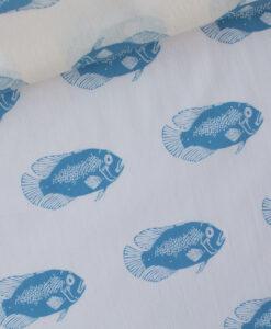vissen blauw cotton lawn fish