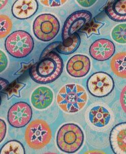 mandala turquoise multi katoenen tricot hilco
