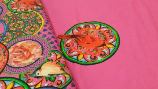 cirkels vogels bloemen roze tricot panel stenzo