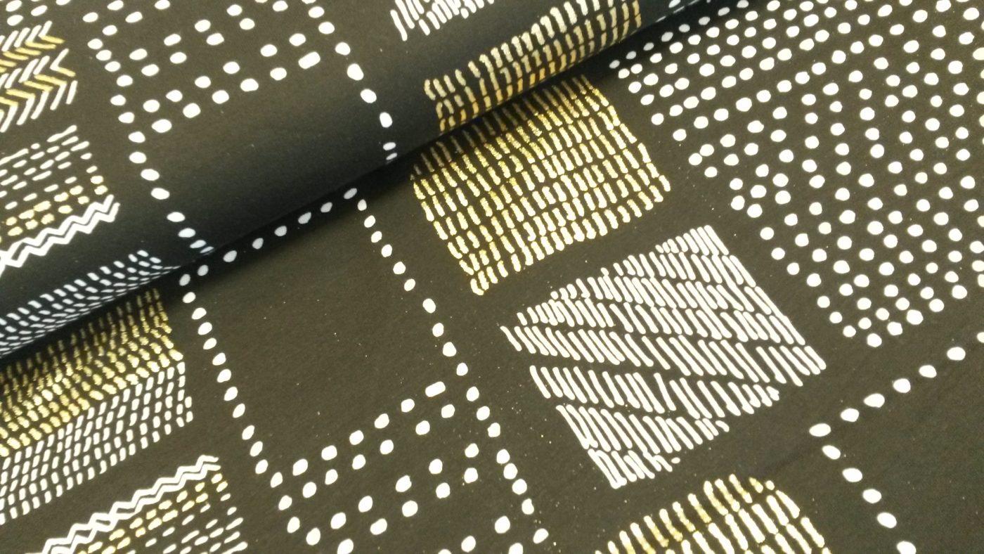 vierkanten zwart wit goud foliedruk sweattricot Milli Blu's