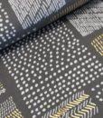 vierkanten grijs wit goud katoen tricot met foliedruk milliblus