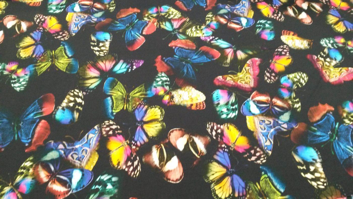 vlinders zwart viscose trocpt italiaase couture