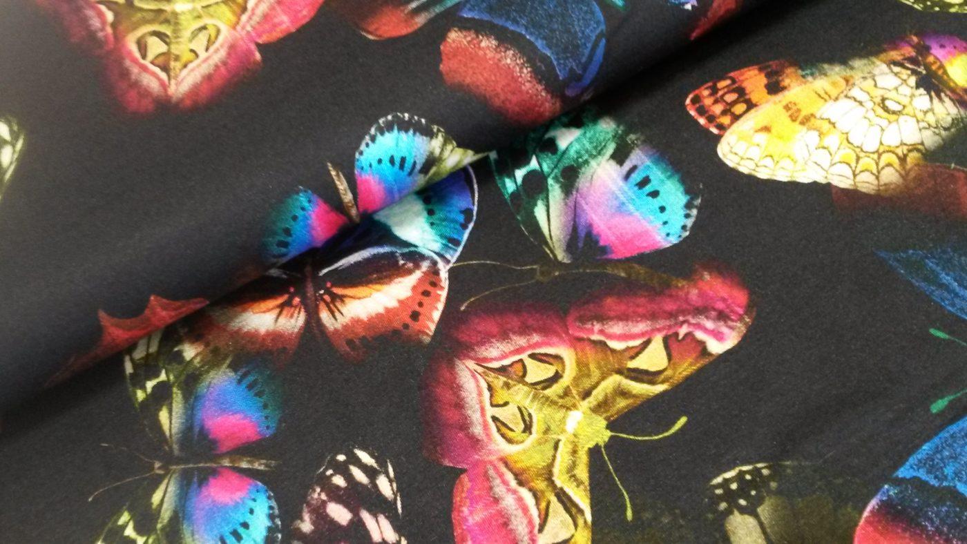 vlinders zwat viscozetricot Italiaanse couture