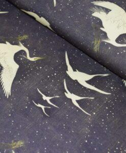 kranvogels in de sneeuw viscoe tricot sam
