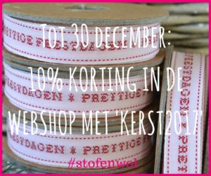 10% koritng bij webshop stof&wol kerst 2017