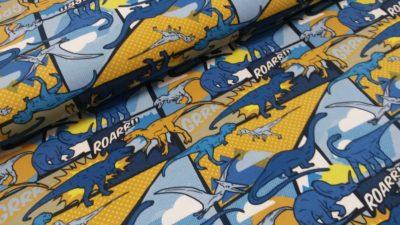 dinosaurus strip oker blauw katoenen tricot