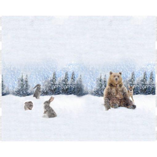 beer konijntjes sneeuw digitaal paneel tricot stenzo