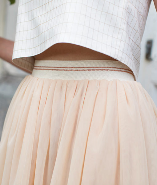elastic waistband copper tule nude