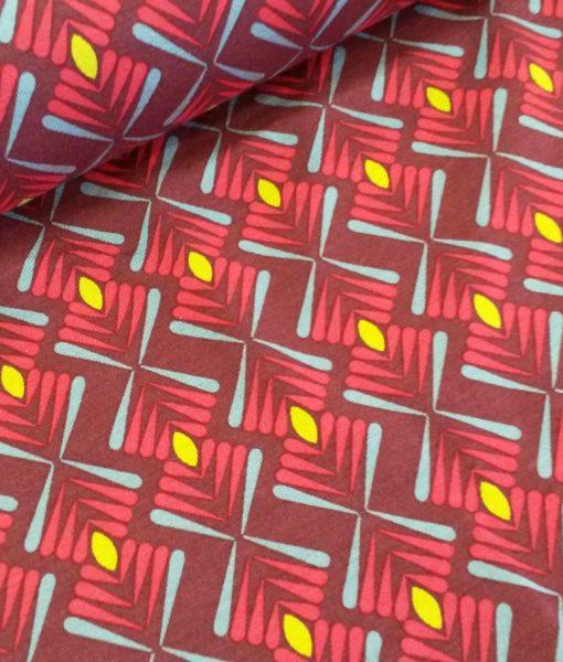 retro rood geel viscose tricot milliblus
