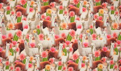 Lama's en bloemen digitale tricot