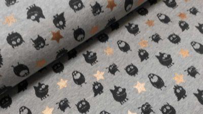 monsters sterren grijs zwart koper sweattricot qjutie