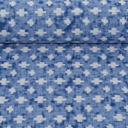plusjes blauw wit katoen pina swafing