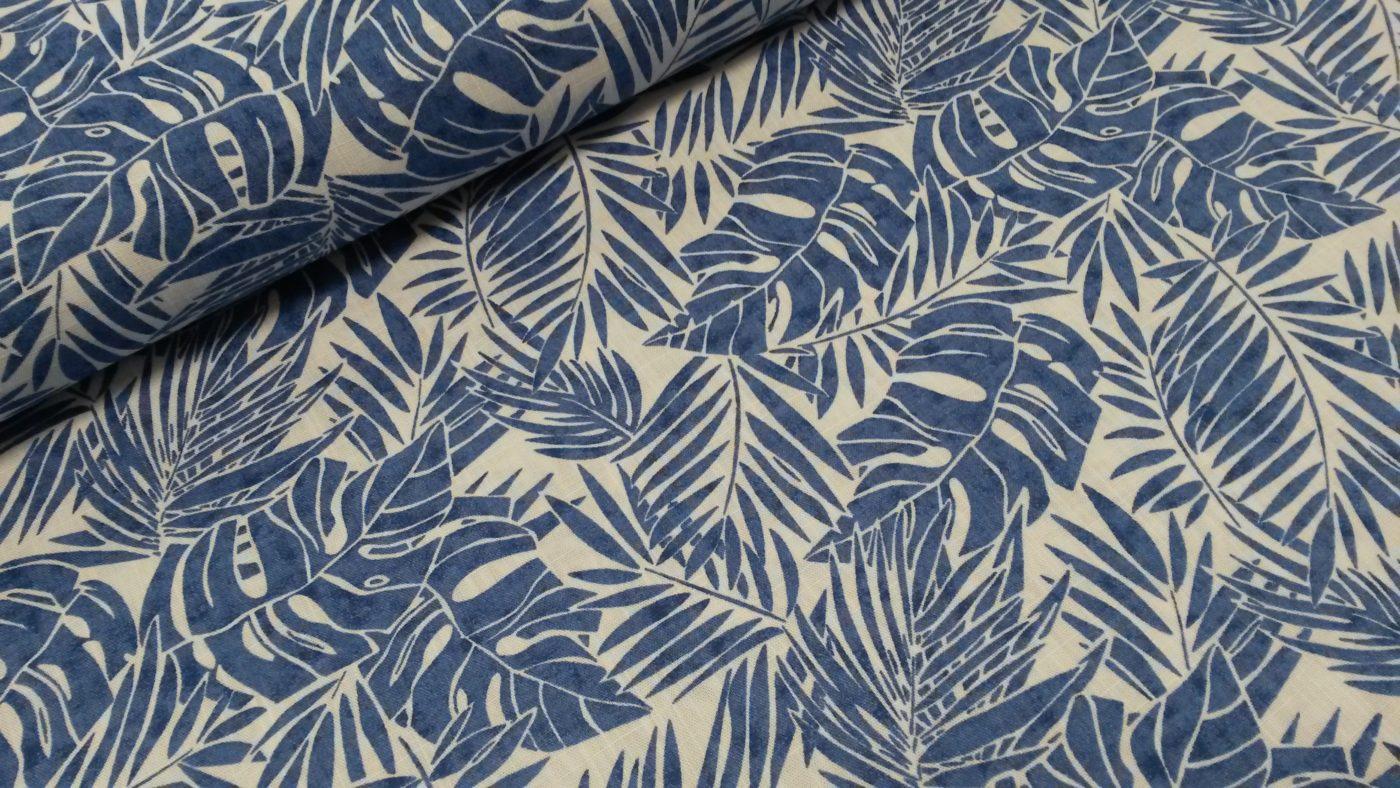 bladeren katoen keansblauw wit pina swafing