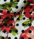 bloemenstip rood wit zwart groen katoen vicose