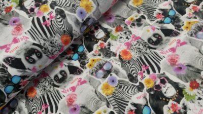 zebra olfant apen zwart wit multi digitale sweattricot dress up