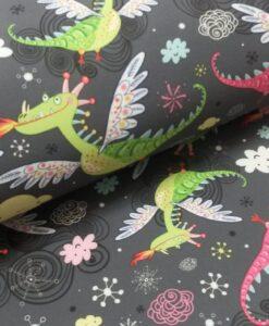 draken bloemen wokjes grijs softshell stofenwol