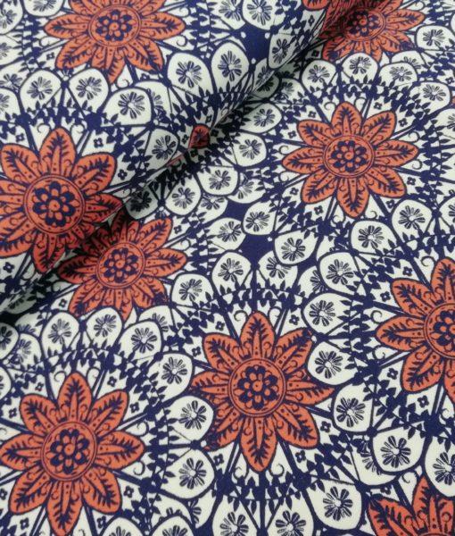 sterren blpemen blauw wit roest katoenen tricot Bohemian Design #milliblus