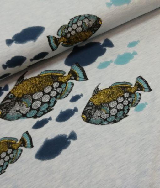 vissen blauw geel sweattricot mies en moos clownfish french terry