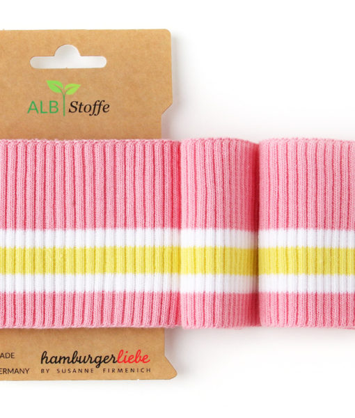 cuff me this summer ripped roze wit geel boord hamburger liebe albstoffe