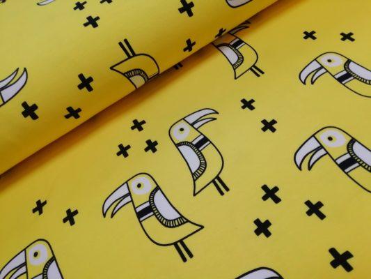 Vogel geel zwart wit frech terry big bird hamburger liebe albstoffe