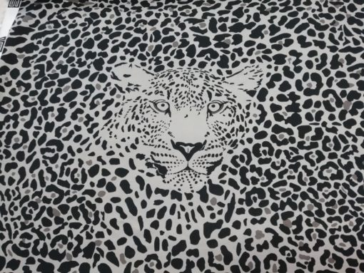 luiaard zwart grjs katoenen tricot panel safari swafing