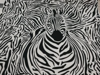 zebra zwart wit panel katoenen tricot swafing