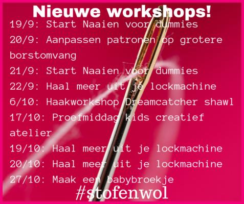 niwuew workshops naaien haken september oktober 2018 bij stof en wol Breda