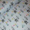 vogeltjes bloemen blauw koraal geel grijs katoenen popeline letissu