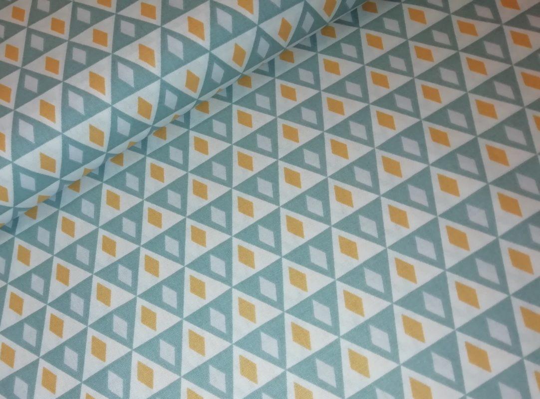 driehoekjes blauw grijs geel wit katoenen popeline letissu