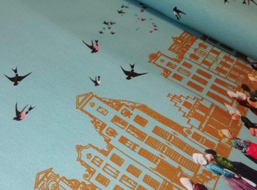 dutch kids digitale katoenen tricot met randddessin Mies&Moos