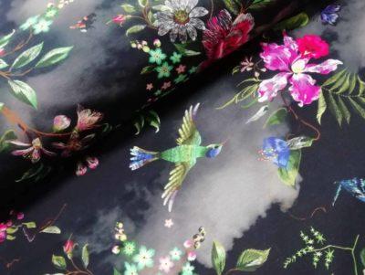 digitale katoenen tricot stitched flowers zwart