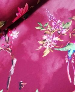 Knipidee - digitale katoenen tricot Stitched Flowers met Bloemen vogels in bordeaux