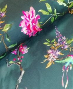digitale katoenen tricot stitched flowers groen