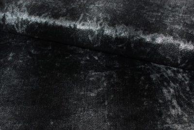 stretch velvet fluweel denim look zwart knippie