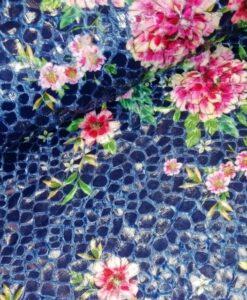 kraanvogel bloemen blauw multi gecoat bont