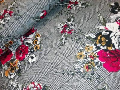 prince de galles bloemen zwart rood scuba crepe