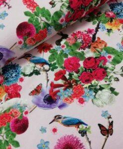 Knipidee vogels bloemen zachtroze ondergrond digitale kantoen tricot