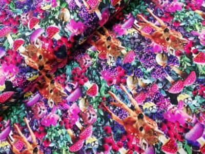 hertjes paddestele fuchsia paars rood digitale katoenen tricot