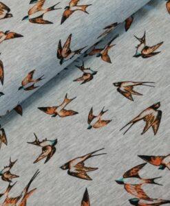 poppy birds tricot mzwaluwen oker petrol grijs