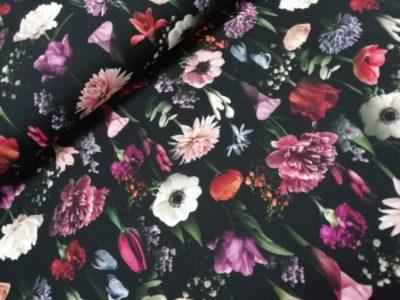 Knipidee - bloemen zwart digitale tricot night flowers