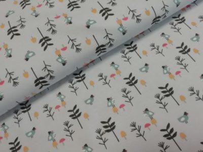 le tissu katoenen tricot loupala vogeltjes