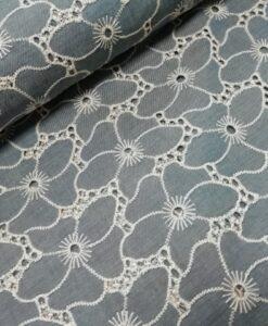 la maison victor rina jurk broderie jeans wit katoen