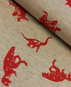 dinosaurussen sweattricot grijs rood polytex