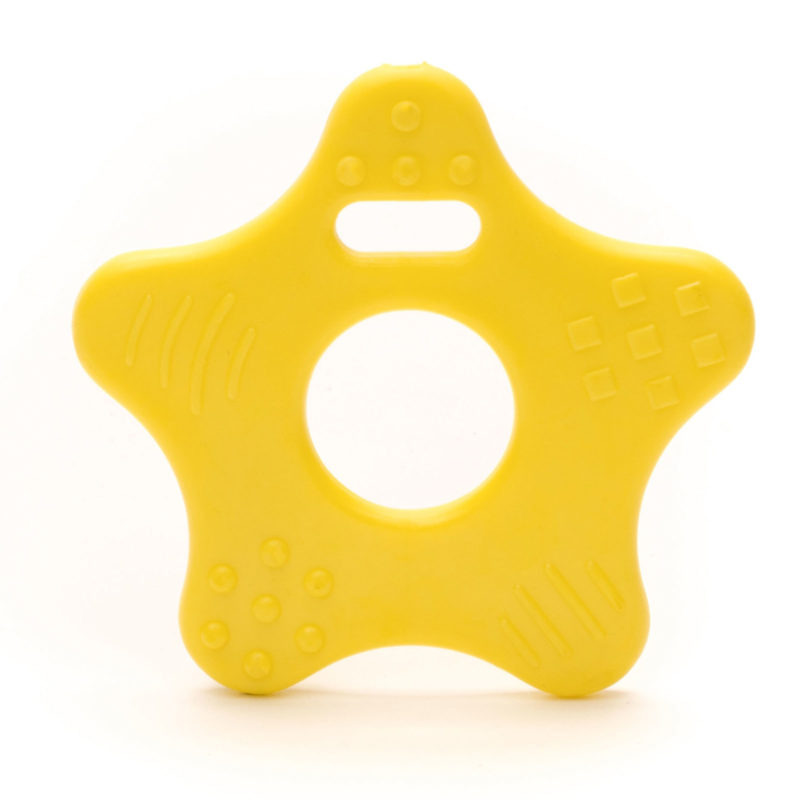 kunststof bijtring durable ster geel