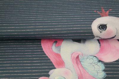 stenao paneel eenhoorn zwaan roze grijs kantoen tricot