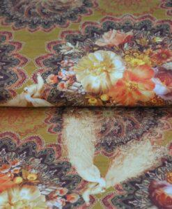 tenzo katoenen tricot pauw bloemen okertinten