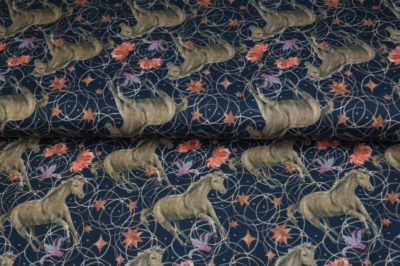 stenzo digitale tricot paarden bloemen donkerblauw